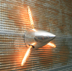 Airplane / Aviation / Cessna 185/200 series Chrome 3 blade spinner wall sconce / Lamp #dc116 sold