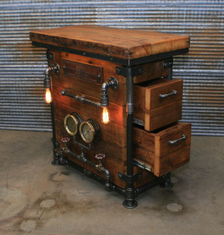 Steampunk Industrial / Pub or Bar Table / Barnwood / Steam gauge / Railroad / #1899