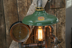 Steampunk Lamp, Steam Gauge and Green Shade #198 - SOLD