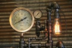Steampunk Industrial Lamp / Roselle NJ / Steam Gauge / Gear / Lamp #1947  - sold
