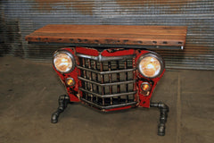 Steampunk Industrial / Original vintage 50's Jeep Willys Grille / Automotive  / Table Sofa Hallway / Table #2439