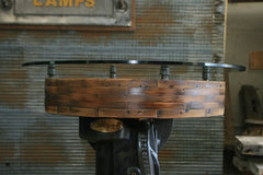Steampunk Industrial / Antique Flat Belt Pulley Table / pub  / Gauge Gear / #2522 sold