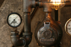 Steampunk Lamp, Steam Gauge and Gear Base #199