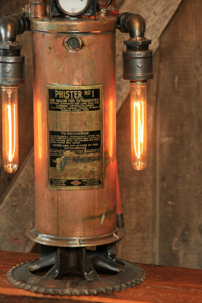 Steampunk Industrial Antique Fire Extinguisher Lamp 800