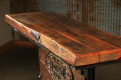 Steampunk Industrial / Barn Wood / Table / Console / Lighted #1484