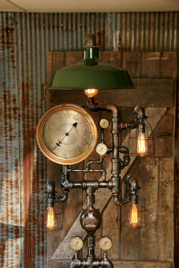Steampunk Industrial Floor Lamp Green Shade Antique