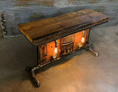 Antique Steampunk Industrial Boiler Door Table Stand / Round Oak / Reclaimed BarnWood Top - #2774