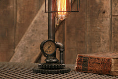 Steampunk Industrial / Pipe Lamp Light / Tractor Gear Base / Lamp #1715