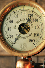 Steampunk Industrial, Rare Steam Gauge, Brass Oiler, Gem City, Dayton OH #1057