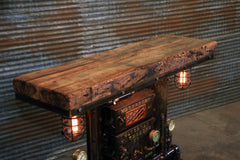 Steampunk Industrial Table / Pub, sofa console / Antique Furnace Door / Barnwood / Minneapolis / Table #2832 sold