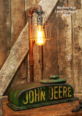 Steampunk Industrial  Lamp, Antique John Deere Farm Tractor B - #259