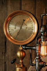 Steampunk Industrial, Rare Steam Gauge, Brass Oiler, #1497