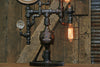 Steampunk Industrial Pipe Lamp / Antique Steam Gauge / Gear / Boston / Lamp #1765