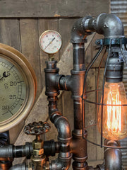 Steampunk Industrial / Machine Age Lamp / Antique Steam Gauge  / General Electric / Lamp #2721