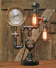 Steampunk Industrial Lamp / Antique Steam Gauge / Gear / Lamp #1731 - sold