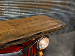 Steampunk Industrial / Automotive / Original vintage 50's Jeep Willys Grille / Table Sofa Hallway / RED /  Table #2716