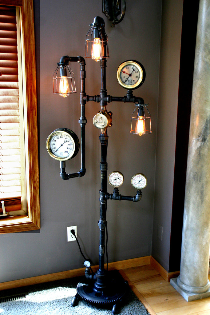 Industrial steam gauge floor lamp 60 steampunk industrial steam gauge floor lamp 60 greentooth Images