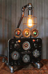 Vintage Industrial Instrument Aeronautical & Nautical Navigation Control Panel Lamp #CC44 - SOLD