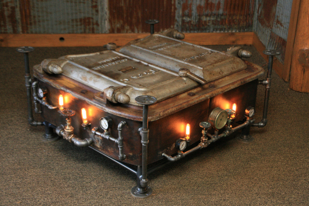 Marvelous Steampunk Industrial Boiler Door Coffee Table Or Lamp Stand, #831   SOLD