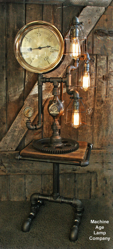 Steampunk Industrial Barn Wood and Lamp Table Stand Floor 5