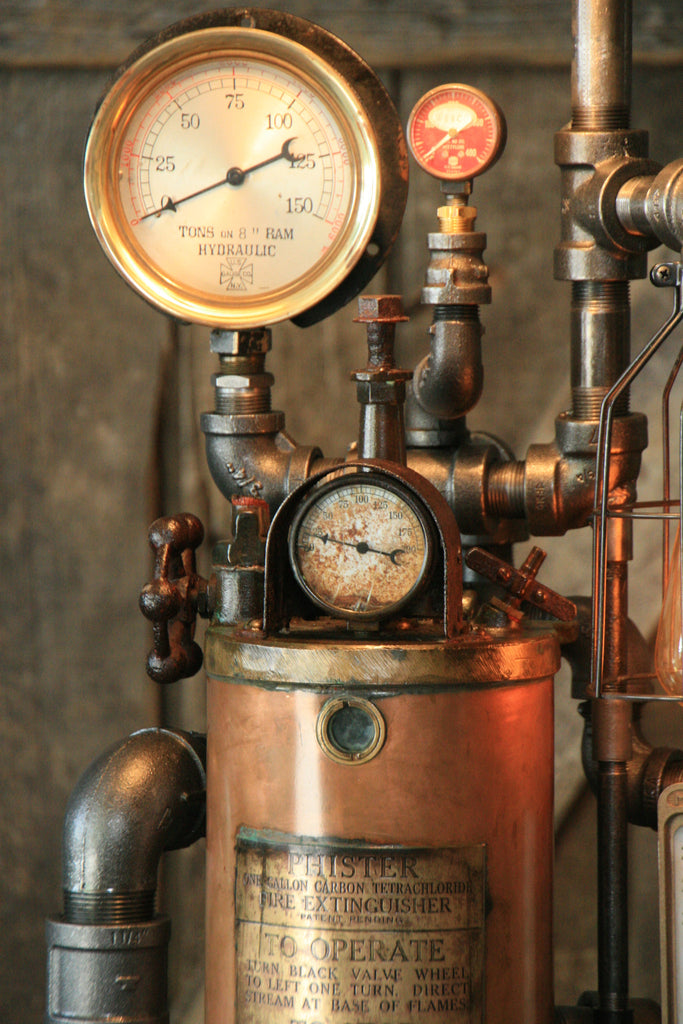 Steampunk Industrial  Fire Extinguisher Lamp