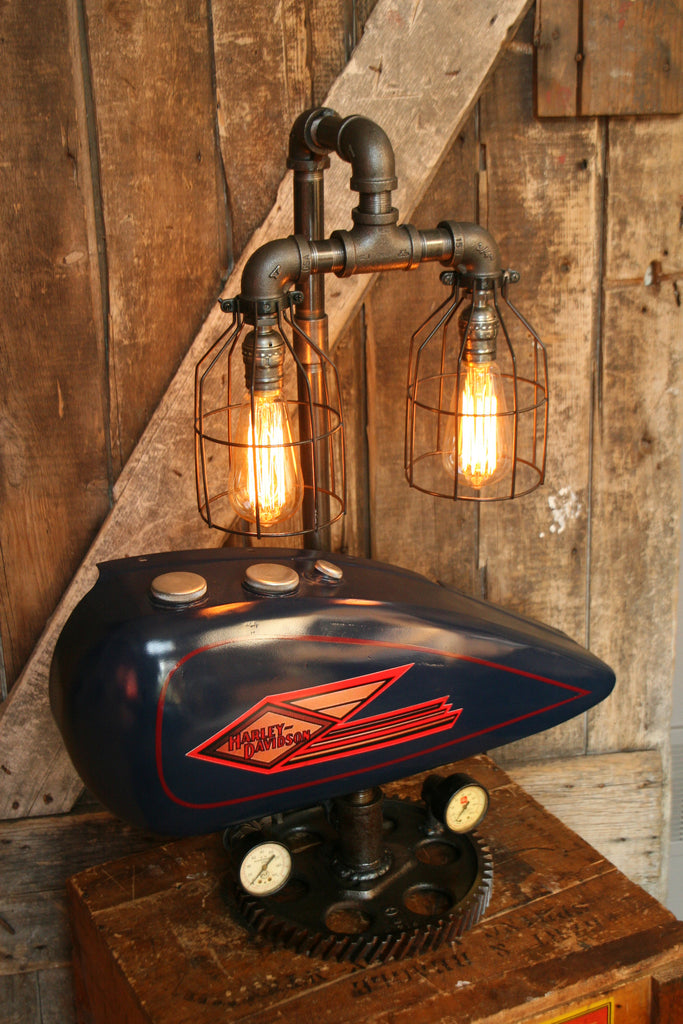 Industrial Lamp Antique 1935 Harley Davidson Motorcycle
