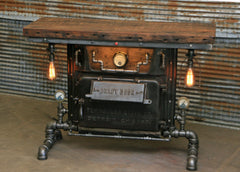 Steampunk Industrial / Boiler Furnace Door Table / Console / BarnWood top / Table #1700 sold