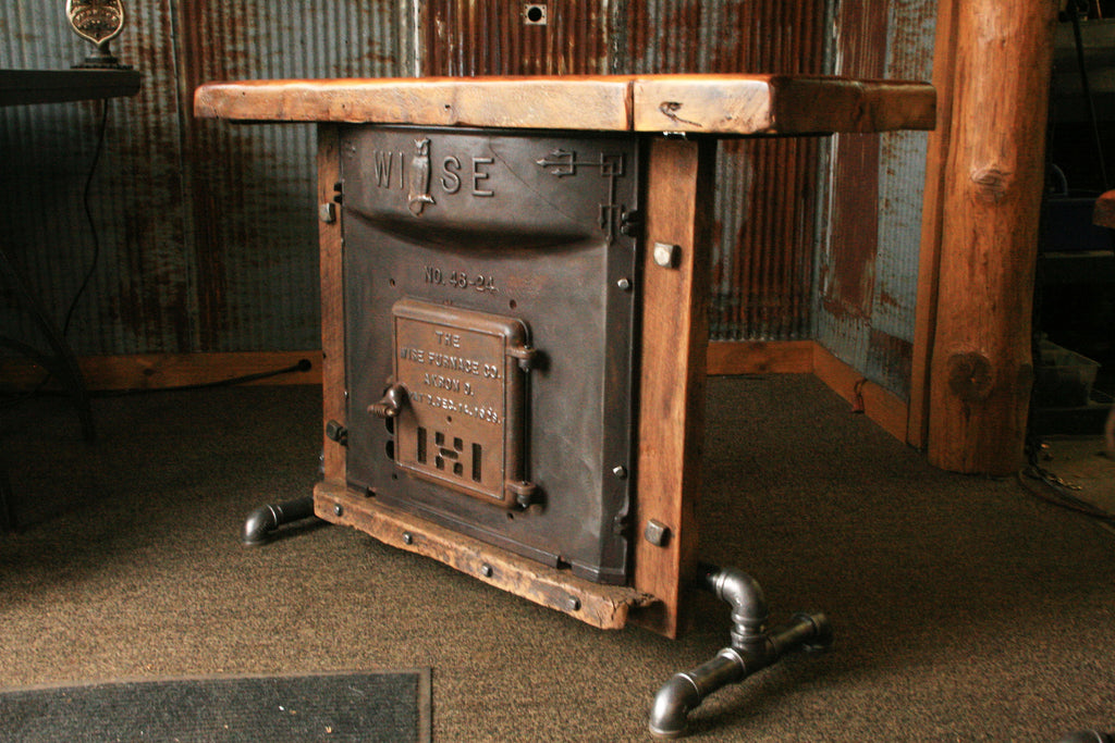 Industrial Antique Furnace Door Lamp Stand Table Barn