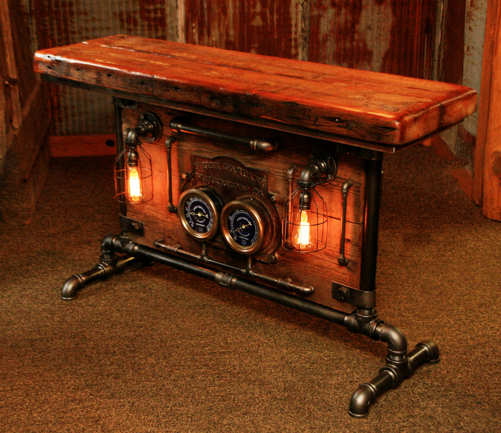 Industrial Barn Wood And Iron Frick Co Steam Gauge Table