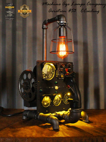 Steampunk Vintage Aviation Jet  F4 Phantom Control Stick and Instruments Lamp / Lamp CC53