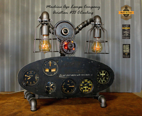 Steampunk Industrial / Aviation / Aircraft Instrument Panel / Airplane / Lamp #cc55