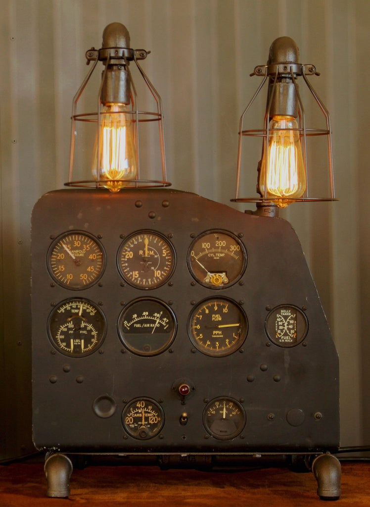Steampunk Machine Age Aviation Lamp Instrument Panel Wwii