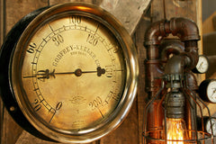 "Steampunk Lamp, Antique 10"" Steam Gauge and Gear Base #496 - SOLD"