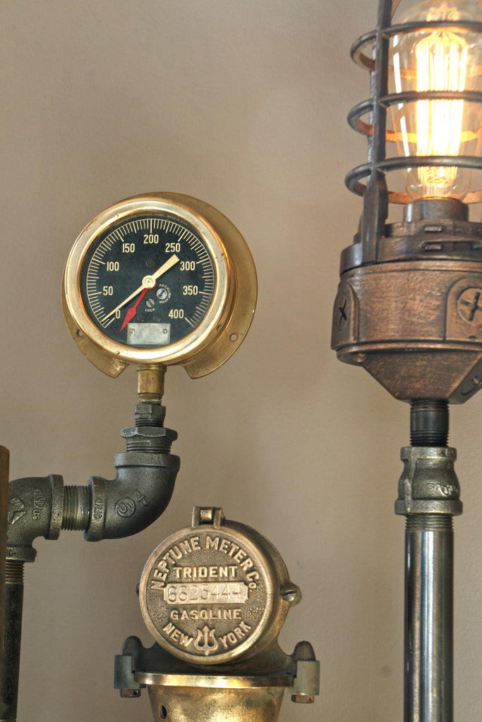 Antique Brass Steam Gauge And Thermometer Lamp Light