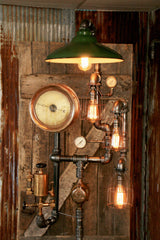 Steampunk Industrial Floor Lamp, Steam Gauge - #748