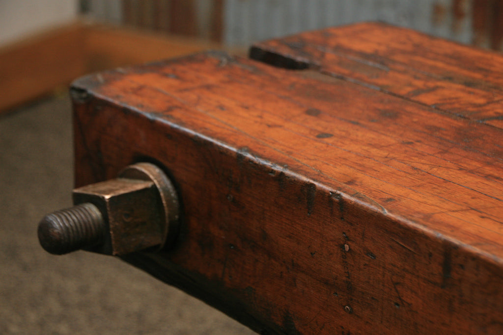 Steampunk Industrial Antique Wood Beam Bench Or Coffee
