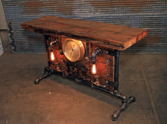 Antique Steampunk Industrial Boiler Door Table Stand / Steam Gauge   / Reclaimed BarnWood Top - #2794