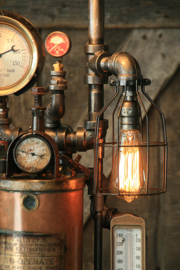Steampunk Industrial Fire Extinguisher Lamp 849