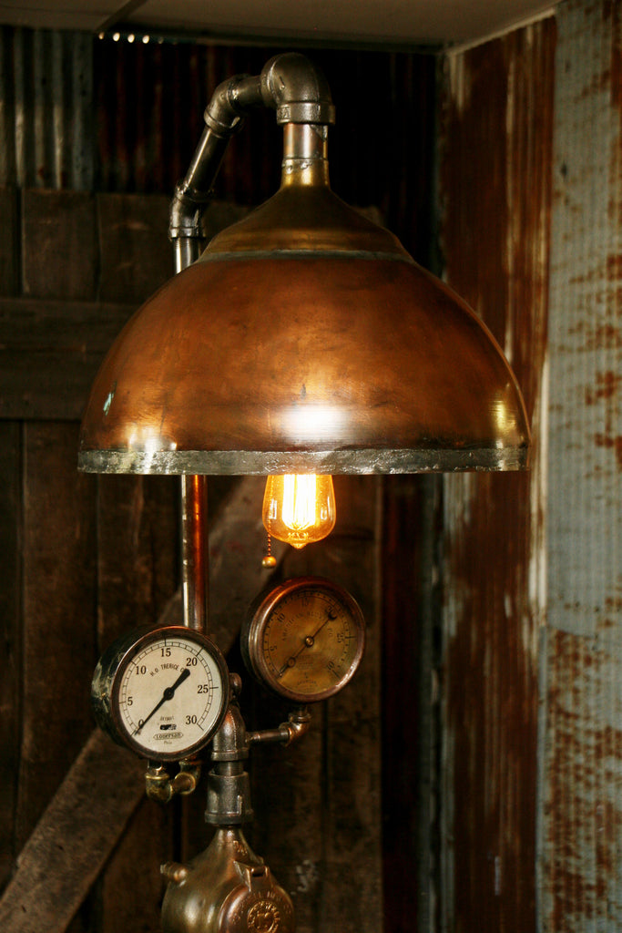 Steampunk Lamp Antique Steam Gauge And Barn Wood Base