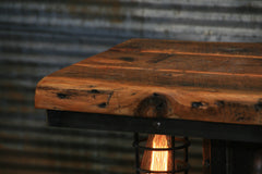 Steampunk Industrial Table / Antique Boiler Furnace Door / Barnwood / Table #2010