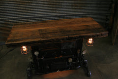 Steampunk Industrial / Antique Boiler Stove Front / Barnwood top / Steam Gauge / Table #1973 sold
