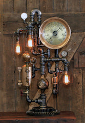 Steampunk Industrial / Steam Gauge Lamp / General Electric / Oiler / Lamp #2430