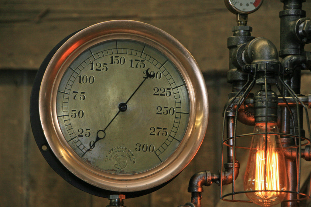 Steampunk Industrial Antique Steam Gauge New York