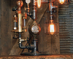 Steampunk Industrial / Steam Gauge Lamp / Milwaukee  / Allis Chalmers / Oiler / Farm Tractor  / Lamp #3031