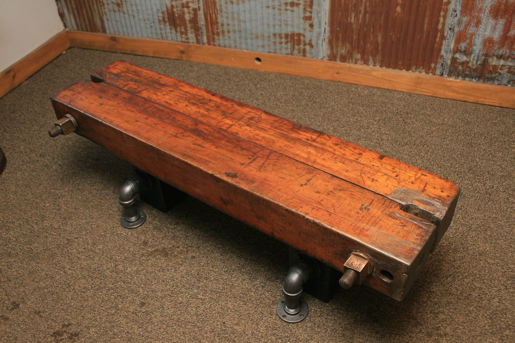 Great Steampunk Industrial Antique Wood Beam Bench Or Coffee Table #1292  Sold