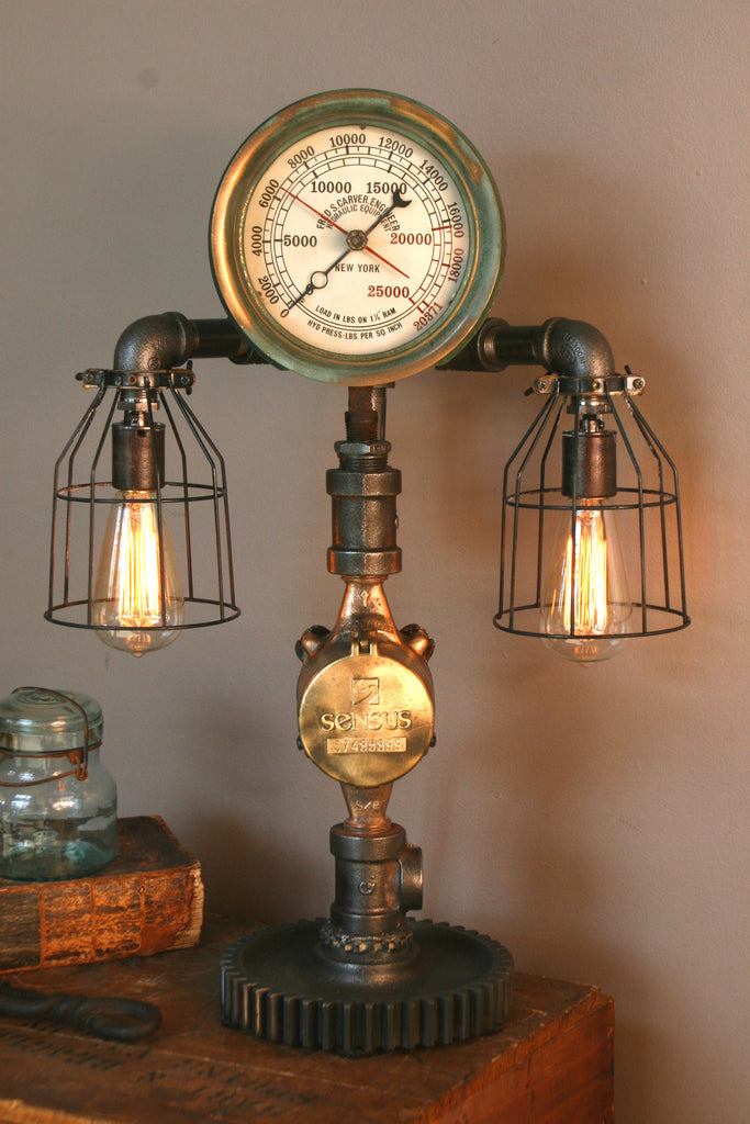 Steam Gauge Plumbing Lamp #37 - SOLD