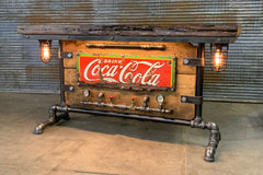 Steampunk Industrial / Antique 1920's Coke Sign / Steam Gauge / Barn Wood / table #2676