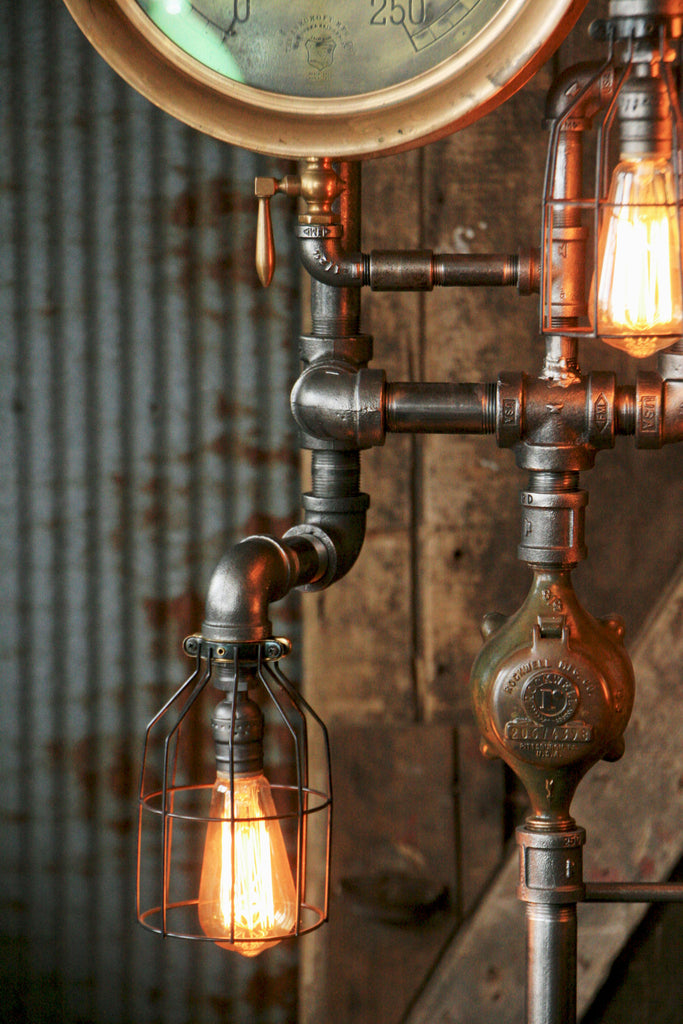Steampunk Industrial Pipe And Vintage Steam Gauge Floor