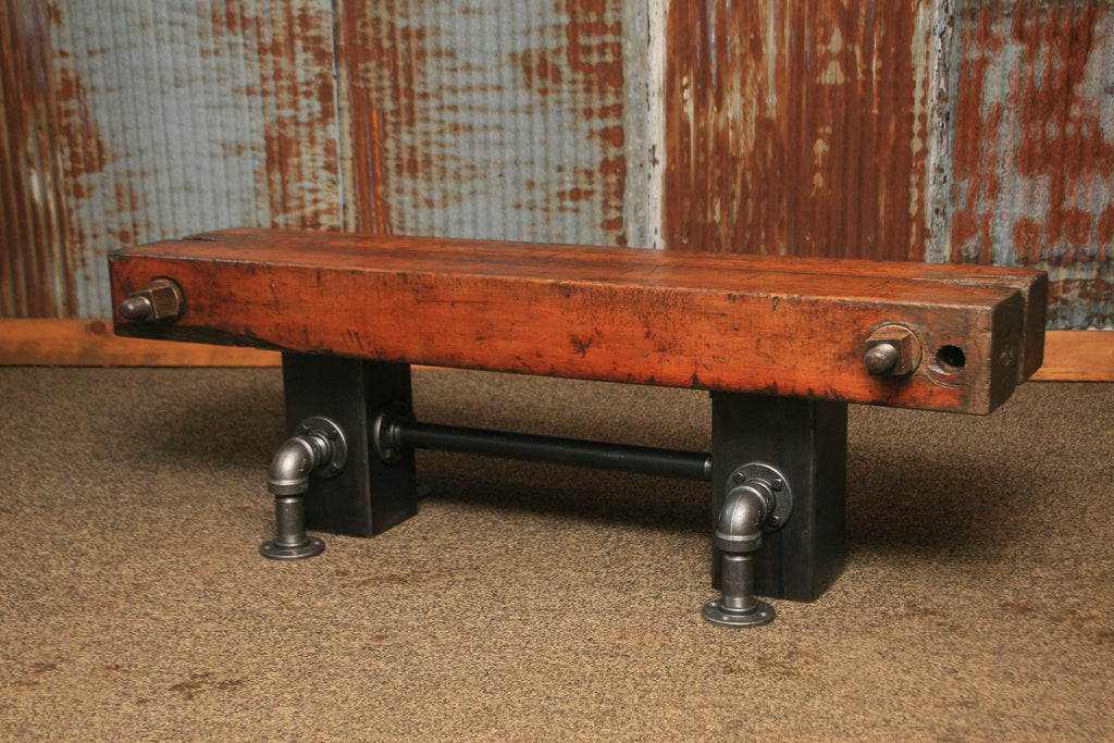 Steampunk Industrial Antique Wood Beam Bench Or Coffee Table #1292  Sold
