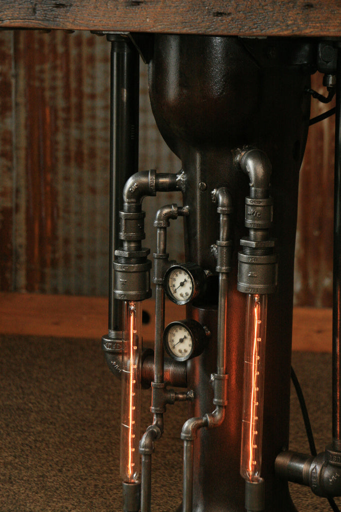 Marine Engine Room Lights: Steampunk Industrial Pipe Steam Gauge Lamp Stand Table